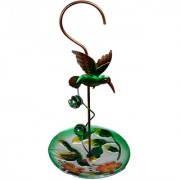 Wonderland Hanging green bird with glass feeder (Home & Garden Decor Bird feeder Gifting)