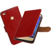 BestCases.nl Rood Pull-Up PU booktype wallet cover hoesje voor Huawei P8 Lite 2017 / P9 Lite 2017