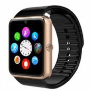 Ceas Smartwatch cu Telefon iUni GT08 Bluetooth Camera 1.3 MP Ecran LCD antizgarieturi Gold Bonus Bratara Roca Vulcanica unisex