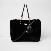 River Island Womens Black faux fur front tassel large tote bag