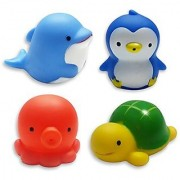 MICHLEY Baby Bath Toys Sea Animal Water Squirter Toy Environmental Protection Material Bathtub Toys- Set of 4