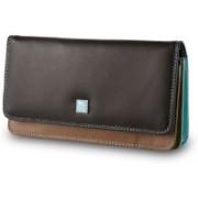 Dudu Women Casual Brown, Black Genuine Leather Wallet(12 Card Slots)