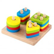 Educational Toy Geometric Sorting Board Stack and Sort Shape Color Wood Brain Teaser Puzzles for Kids of Age 3+ Year Old