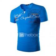 Print-Informeel / Sport-Heren-Katoen-T-shirt-Korte mouw Zwart / Blauw / Groen / Oranje / Rood / Wit