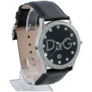 D&G Gloria Black Leather and Crystal Womens Watch DW0008