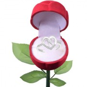 Sukai Jewels Notable 'N' Heart Rhodium Plated Alloy Cubic Zirconia Studded Finger Ring with Rose for Women & Girls [SFR279R]