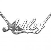 Personalized Men's Jewelry Double Thickness Silver Coca-Cola Font Name Necklace 101-01-091-04