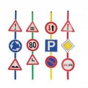 Közlekedési tábla szett útjelző táblák 24 db-os készlet,6db talppal, 6db bottal 12 db tábla, multif