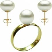 Set Aur Cercei cu Surub si Inel cu Perle Naturale Albe de 10 mm marimea 22 2 mm