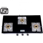 BrightFlame 3 Burner Tulip Glass Black Pan Support Square Dip Tray Gas Stove for LPG