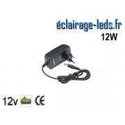 Transformateur LED sur prise 12V DC 12W ref tp12-12