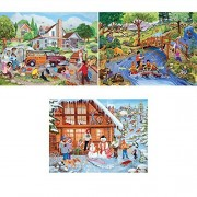Bits and Pieces - Set of Three (3) 500 Piece Jigsaw Puzzles for Adults - Outdoor Activity Series - 500 pc Family Vacation Jigsaws by Artist Sandy Rusinko