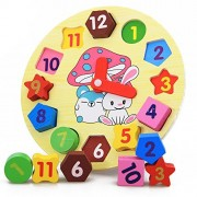Rumfo Wooden Toys Cartoon Rabbit Digital Geometry Clock Shape Recognition Matching Early Education Puzzle Set Children'S Educational Toy For Baby Boy And Girl Gift