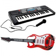 Combo of 37 Key Piano Keyboard Toy with Mic and Musical Guitar (red )With Light And Sound