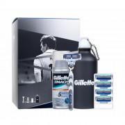Gillette Mach3 Turbo Lionel Messi holicí strojek dárková sada M - holicí strojek s jednou hlavicí 1 ks + náhradní hlavice 4 ks + gel na holení Irritation Defense 75 ml + sportovní lahev