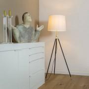 QAZQA Floor Lamp Tripod Scopo Brass and Black with Cream Shade