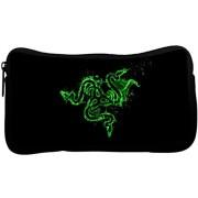 Snoogg Green Razer Logo Poly Canvas Student Pen Pencil Case Coin Purse Utility Pouch Cosmetic Makeup Bag