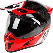Klim Krios Twotrak Carbon Capacete motocross Preto Branco Vermelho 3XL