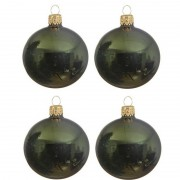 Decoris 4x Donkergroene glazen kerstballen 10 cm glans