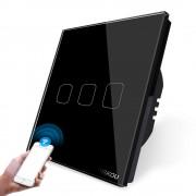 Intrerupator triplu WiFi cu touch Cnskou, panou tactil de sticla cristal, negru