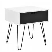 [en.casa] Mesa auxiliar / Mesita de noche con cajón (40x40x44cm) - pata metálica - blanco/gris -diseño retro estilo escandinavo