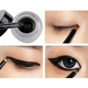 HOT Waterproof Eye Liner Eyeliner Gel Women Makeup Cosmetic+ Brush Black ONE SET