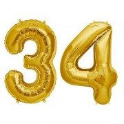 De-Ultimate Solid Golden Color 2 Digit Number (34) 3d Foil Balloon for Birthday Celebration Anniversary Parties