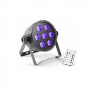 Beamz FlatPAR, 7 x 18 W, 6-v-1 hex color RGBAWUV-LED, DMX IR, включително дистанционното управление (Sky-151.279)