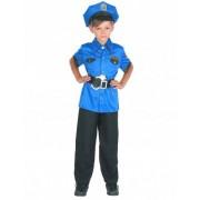 Vegaoo Blauw politie kostuum voor jongens M 122/128 (7-9 jaar)