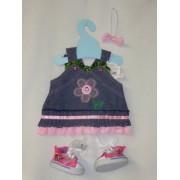 "Doll Dress/Teddy Bear Dress Headband and Sneakers Shoes 16"" Bear Dolls"