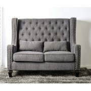 Alicante collection mid-century style high love seat bench with grey fabric upholstery with tufted back