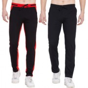Cliths Pack of 2 Stylish Cotton Joggers For Men/ Mens Sport lowers Stylish (Black Red Black Grey)
