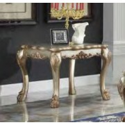 Dresden collection gold patina finish wood carved accents rectangular end table