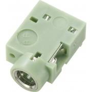 Soclu jack pentru montare, Ø interior 3,5 mm, soclu mama, conexiune prin lipire, instalare pe circuite imprimate 90˚, verde