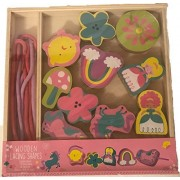 Princess Wooden Lacing Shapes! Includes Ten Blocks And Two Laces! Perfect Gift For Any Little Girl!
