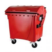 Külső hulladéktároló, Gömbölyű fedelű műanyag konténer - 1100 L piros színben HUL-0014-6