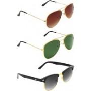 Abner Aviator, Aviator, Clubmaster Sunglasses(Brown, Green, Black)