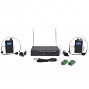 vidaXL Bezdrátový mikrofonní systém VHF - přijímač a 2 x headset mikrofon