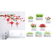 EJA Art Red flower with lanternWall Sticker With Free Flowers Switch Board Sticker Matrial - PVC Color - Multicolor