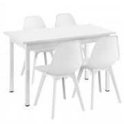 [en.casa]® Mesa de comedor de diseño elegante - 120cm x 60cm x 75cm - Con Set de 4 Sillas - 83cm x 54cm x 48cm - Con protección del suelo - Mesa Blanca - Sillas Blancas