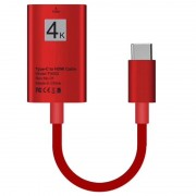 USB Type-C to HDMI Adapter TH002 - 4K - 15cm - Red
