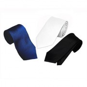 Wholesome Deal White Navy Blue And Black Colour Microfiber Narrow Tie (Pack of Three)