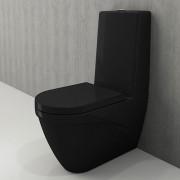 Toiletpot Set Staand Carino 68x36x92cm Keramiek Diepspoel Nano Coating EasyClean Rimfree Glans Zwart met Toiletbril
