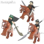 R0v1 Lego LOOSE Three Kingdoms Liu Bei Guan Yu Zhang Fei Custom Minifigures with Battle Horses (NEW Lego Sold Loose as Image Show)