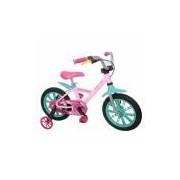 Bicicleta Infantil First Pro Feminina Aro 14 Alumínio - Nathor Rosa/Verde