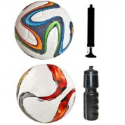 Kit of Multicolor Brazuca Football + Torfabrik Multicolor Football (Size-5) - Pack of 2 Balls with Air Pump & Sipper