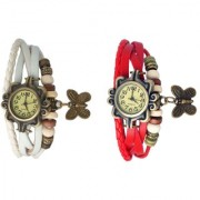 Set of 2 Fancy Vintage White Red Leather Bracelet Butterfly Watch for Girls Women - Combo Offer