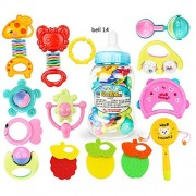Lanlan 6 Pieces 10 Pieces or 14 Pieces of Newborn Baby Bell Toy Set Puzzle Early Educational Hand Bells 14 pieces of bell set and a feeder