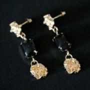 Semi Earring Jewelry Gold Plated Flower 1 Stone Resin Rectangular