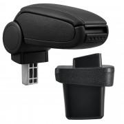 [pro.tec]® Reposabrazos para Volkswagen Golf 7 - Apoyabrazos con compartimento - ajuste perfecto - tapizado - piel sintética - negro - costuras negras